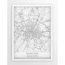 Plakat, mapa MONACHIUM - linia WHITE