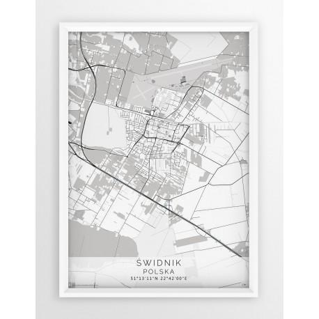 Mapa plakat ŚWIDNIK - linia BLUE/GRAY