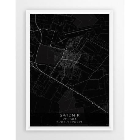 Mapa plakat ŚWIDNIK - linia BLACK