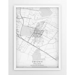 Plakat mapa ŚWIDNIK - linia WHITE