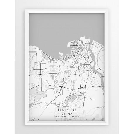 Plakat, mapa - HAIKOU - linia WHITE