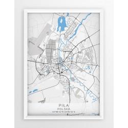 Plakat, mapa PIŁA - linia BLUE/GRAY