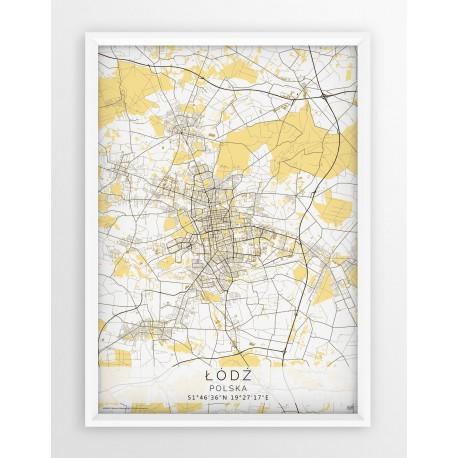 Plakat mapa ŁÓDŹ - linia BEIGE