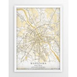 Plakat mapa WARSZAWA - linia BEIGE