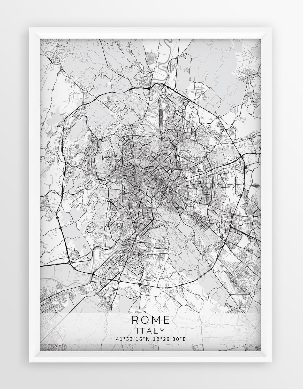 Plakat Mapa Rzym Seria White