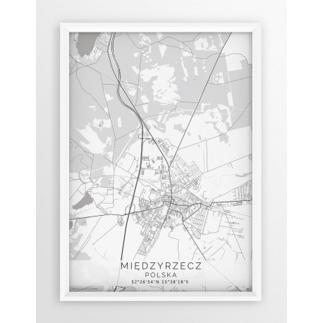 Plakat mapa MIĘDZYRZECZ - linia WHITE