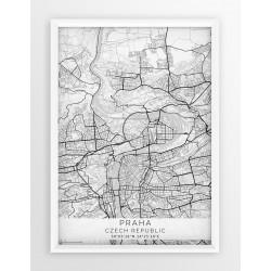 Plakat mapa PRAGA - linia WHITE