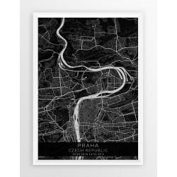 Plakat mapa PRAGA- linia BLACK