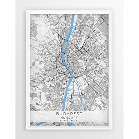 Plakat mapa BUDAPESZT - linia BLUE/GRAY