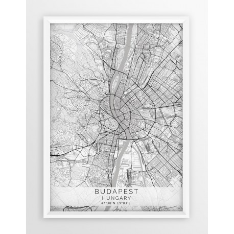Plakat mapa BUDAPESZT - linia WHITE