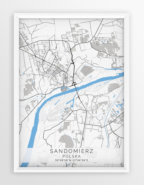 Plakat Mapa Sandomierz Seria Blue Gray