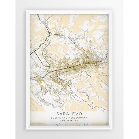 Plakat mapa SARAJEWO - linia BEIGE