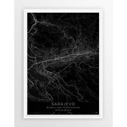 Plakat mapa SARAJEWO - linia BLACK