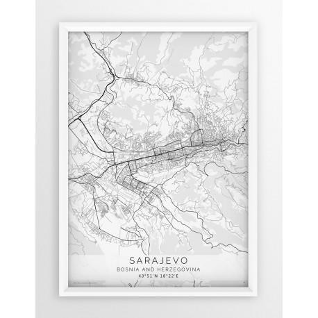 Plakat mapa SARAJEWO - linia WHITE