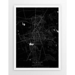 Mapa plakat SUWAŁKI - linia BLACK