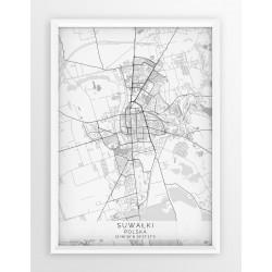 Plakat mapa SUWAŁKI - linia WHITE