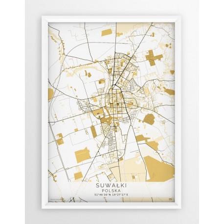 Plakat mapa SUWAŁKI - linia BEIGE