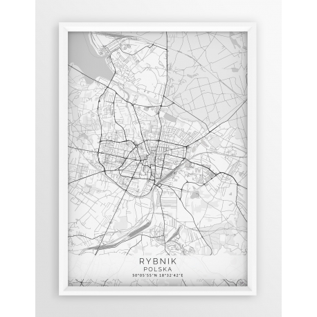 Plakat mapa RYBNIK - linia WHITE