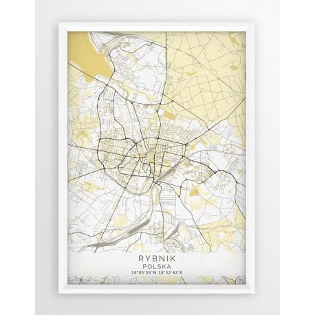 Plakat mapa RYBNIK - linia BEIGE