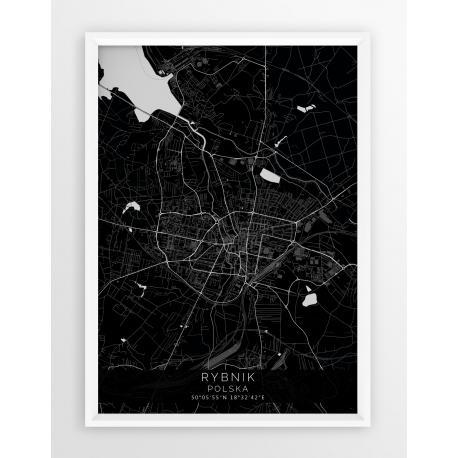 Mapa plakat RYBNIK - linia BLACK