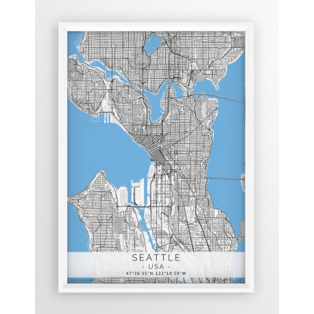 Plakat mapa SEATTLE - linia BLUE/GRAY