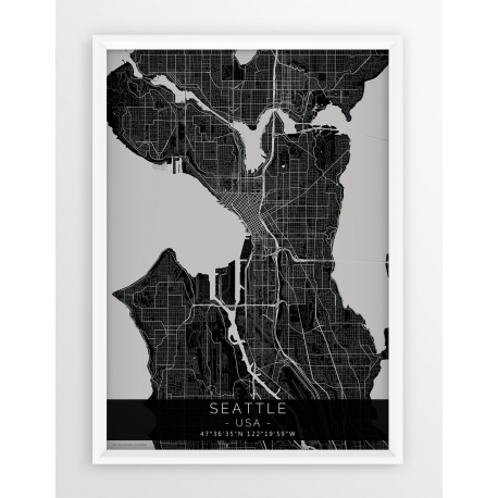 Mapa plakat SEATTLE - linia BLACK