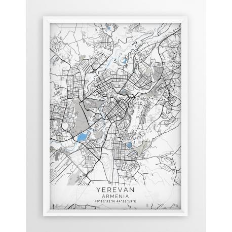 Plakat mapa YEREVAN - linia BLUE/GRAY