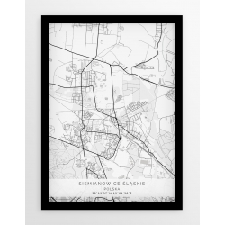 Plakat mapa SIEMIANOWICE ŚLĄSKIE - linia WHITE