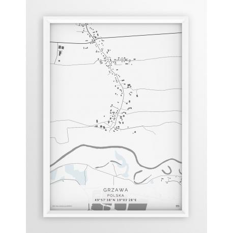 Plakat mapa GRZAWA - linia WHITE