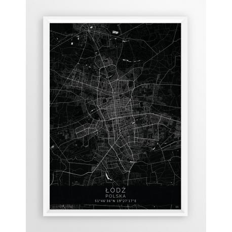 Mapa plakat ŁÓDŹ - linia BLACK