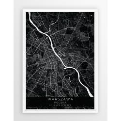 Mapa plakat WARSZAWA - linia BLACK