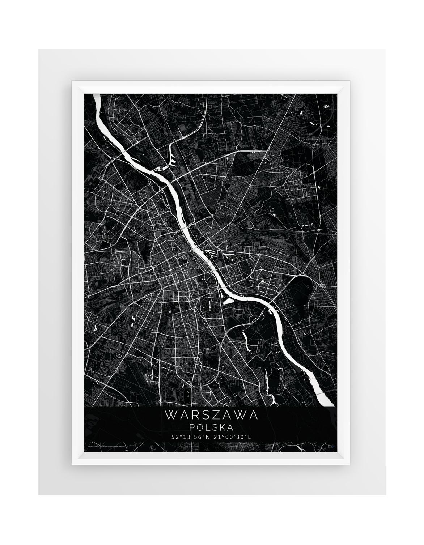 Plakat Mapa Warszawa Seria Black