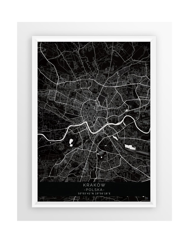 Plakat Mapa Kraków Seria Black