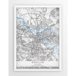 Mapa plakat WROCŁAW - linia BLUE/GRAY