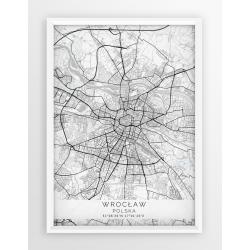 Mapa plakat WROCŁAW - linia WHITE