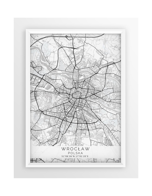 Plakat Mapa Wrocław Seria White