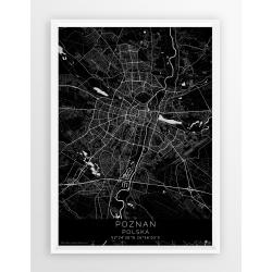 Mapa plakat POZNAŃ - linia BLACK