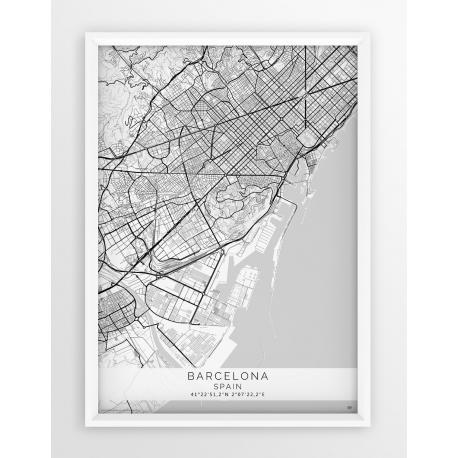 Plakat, mapa Barcelona - linia White