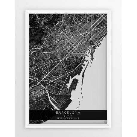 Plakat, mapa Barcelona - linia BLACK