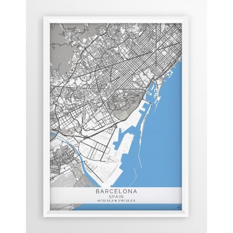 Plakat, mapa Barcelona - linia GREY/BLUE