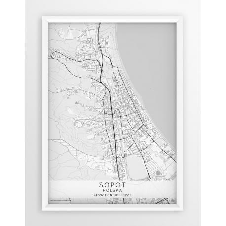 Plakat Mapa Sopot Seria White