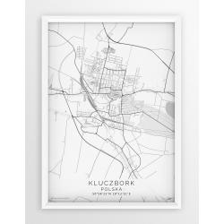 Plakat mapa KLUCZBORK - linia WHITE