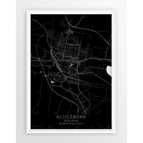 Mapa plakat KLUCZBORK - linia BLACK