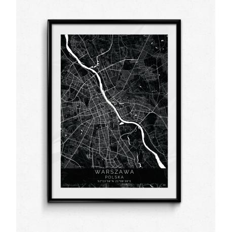 Plakat mapa WARSZAWA - linia BLACK z ramą