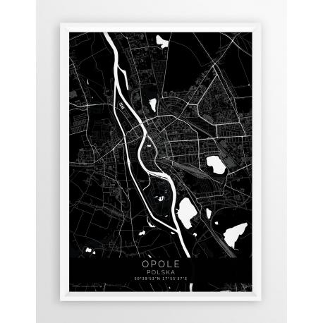 Plakat mapa OPOLE - linia BLACK