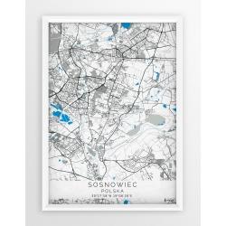 Plakat, mapa SOSNOWIEC - linia BLUE/GRAY