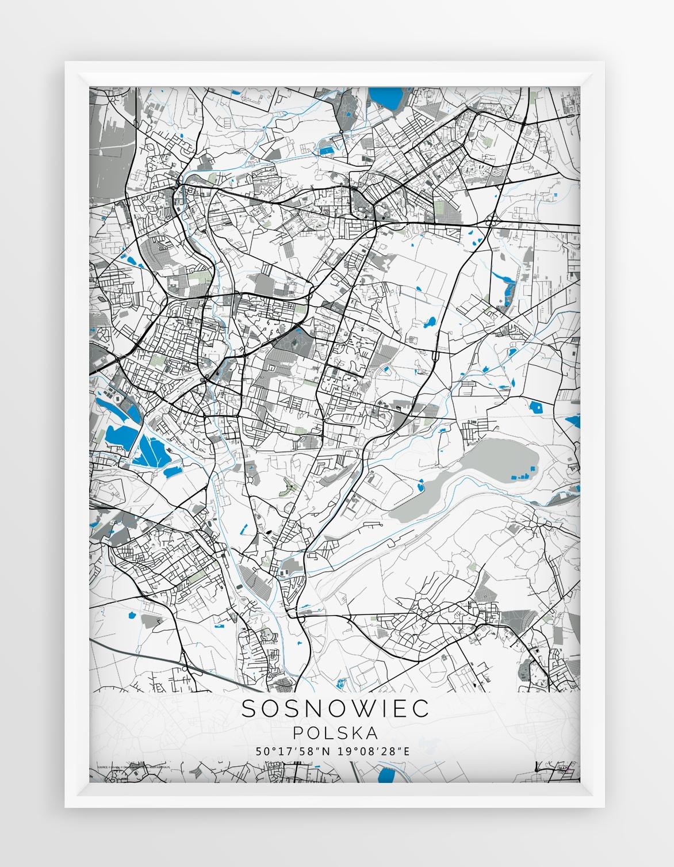 Plakat Mapa Sosnowiec Seria Gray Blue
