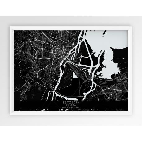 Plakat mapa SZCZECIN - linia BLACK / POZIOMO