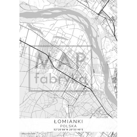 Plakat mapa ŁOMIANKI - projekt WHITE