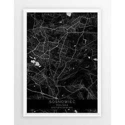 Plakat mapa SOSNOWIEC - linia BLACK